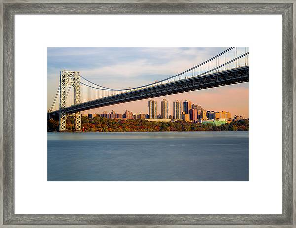 Framed Print featuring the photograph George Washington Bridge In Autumn by Susan Candelario