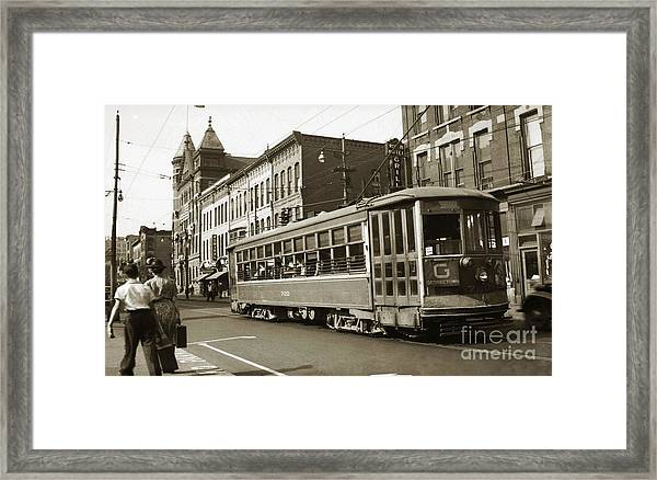 Georgetown Trolley E Market St Wilkes Barre Pa By City Hall Mid 1900s Framed Print