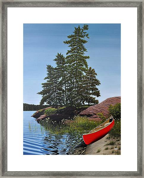 Georgian Bay Beached Canoe Framed Print