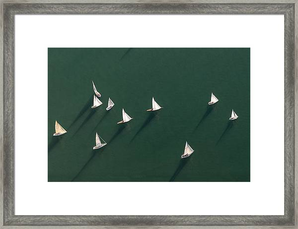 Germany, Baden-wuerttemberg, Lake Constance, Friedrichshafen, Aerial View Of Sailing Boats Framed Print by Westend61