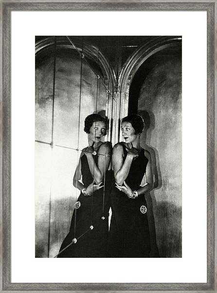 Gertrude Lawrence By A Mirror Framed Print by Cecil Beaton