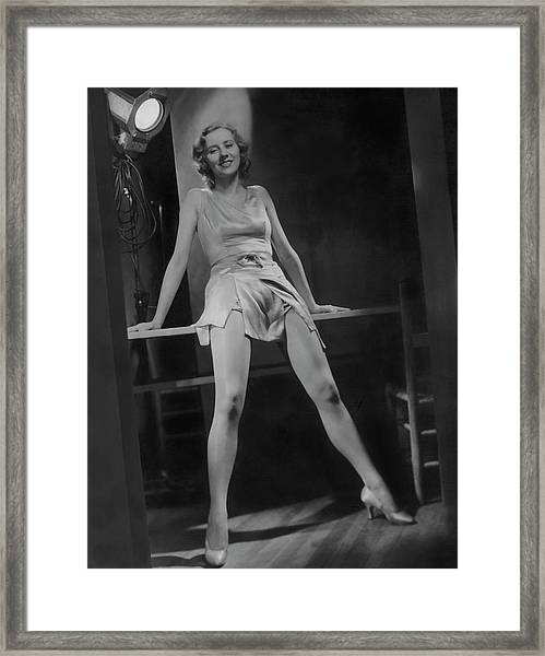 Gertrude Mcdonald Posing Backstage On The Set Framed Print