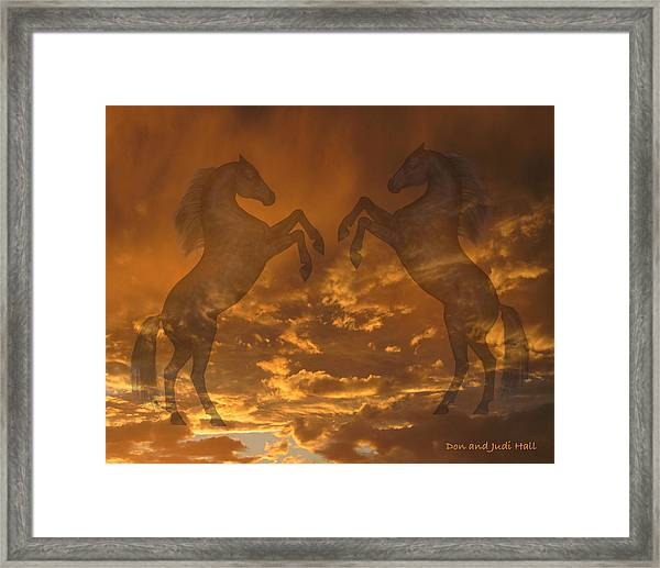 Ghost Horses At Sunset Framed Print