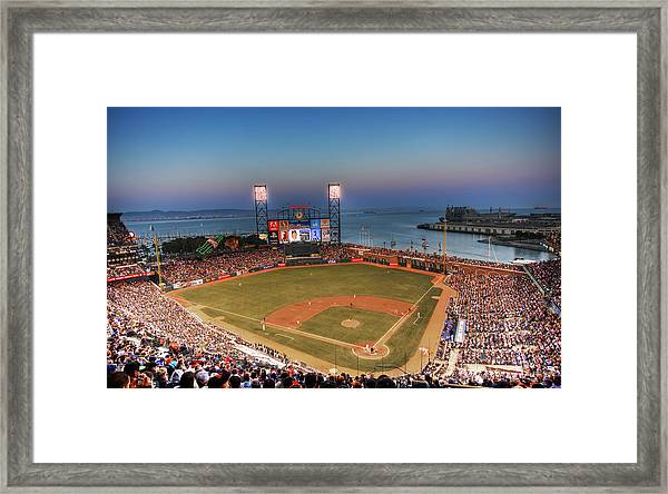 Giants Ballpark At Night Framed Print by Shawn Everhart