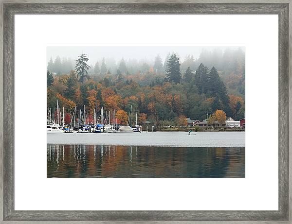 Gig Harbor In The Fog Framed Print