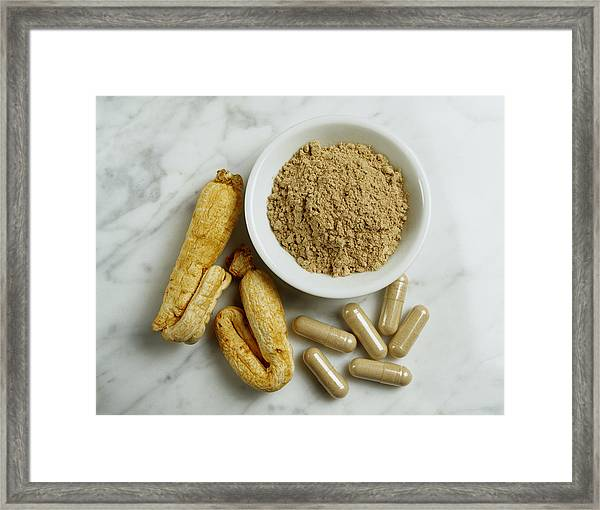 Ginseng Root, Powder And Capsules Framed Print by Mitch Hrdlicka