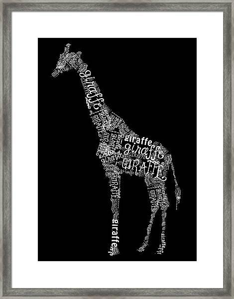 Giraffe Is The Word Framed Print