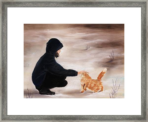 Girl And A Cat Framed Print