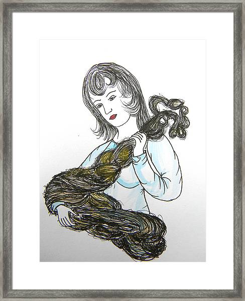 Girl And Tow Framed Print
