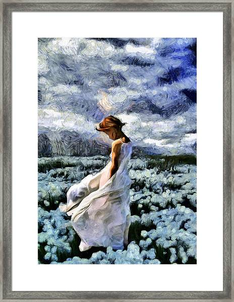 Girl In A Cotton Field Framed Print