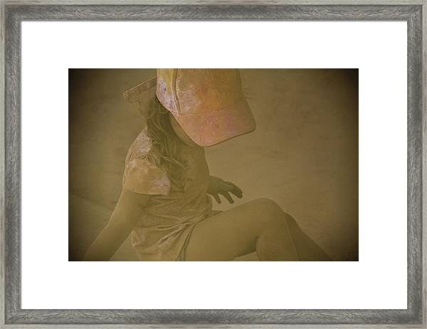 Girl In A Dust Storm Framed Print by Debbie Cundy