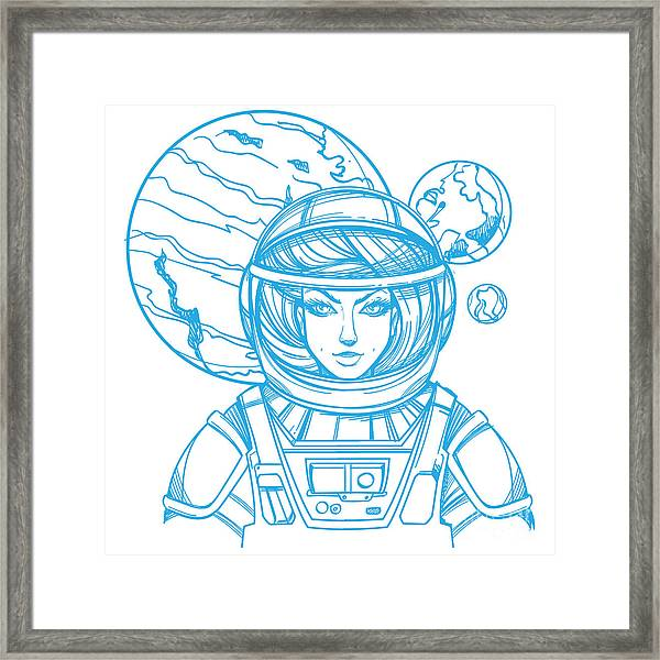 Girl In A Spacesuit For T-shirt Design Framed Print