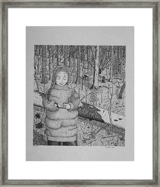 Girl In The Forest Framed Print