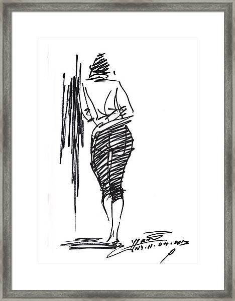 Girl Leaning Against Wall Framed Print