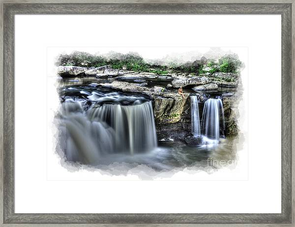 Girl On Rock At Falls Framed Print