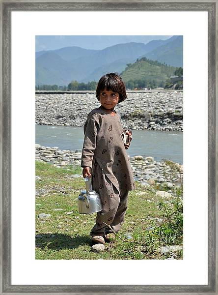 Girl Poses For Camera  Framed Print