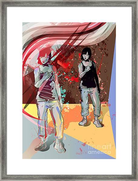 Girl Power, Abstract Grunge Background Framed Print