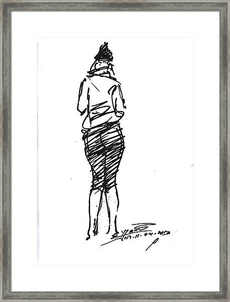Girl Sketch Framed Print
