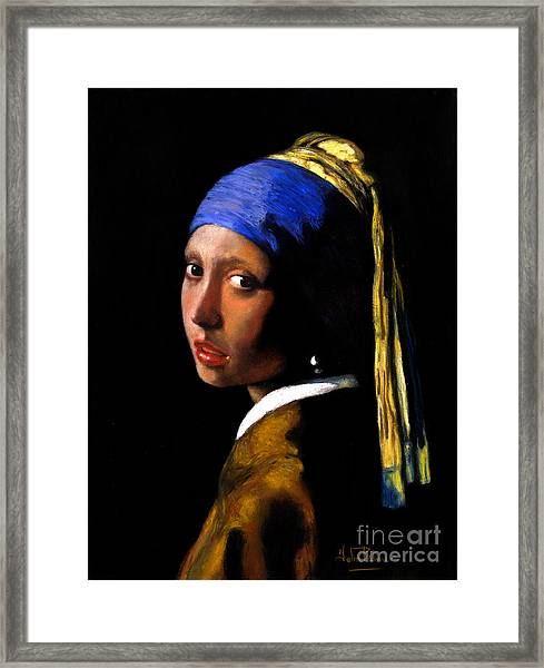 'girl With A Pearl Earring' After Johannes Vermeer. Framed Print