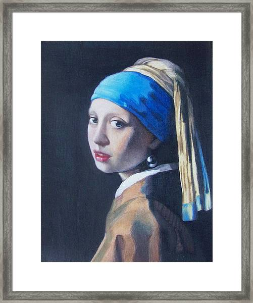 Girl With A Pearl Earring After Vermeer Framed Print