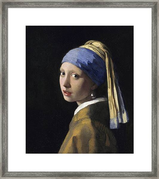 Girl With A Pearl Earring Baroque Art Framed Print