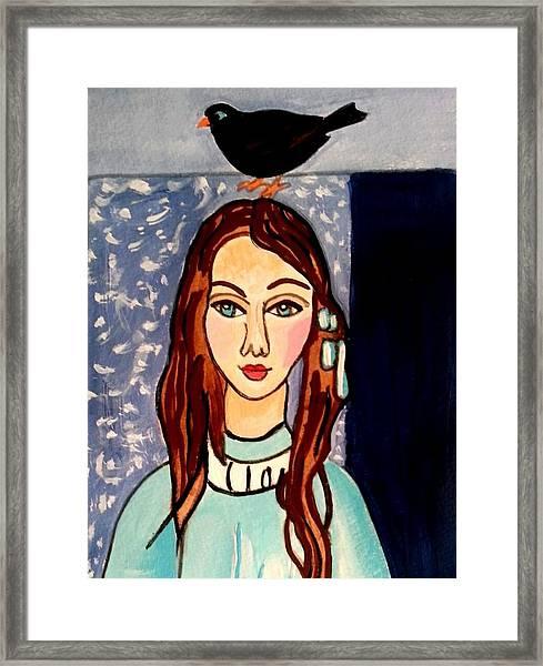 Girl With Blackbird Framed Print