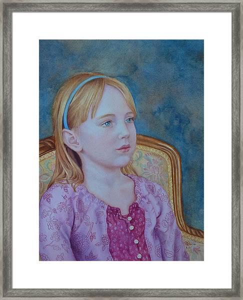 Girl With Blue Headband Framed Print