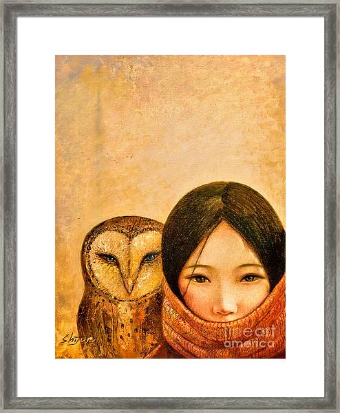 Girl With Owl Framed Print