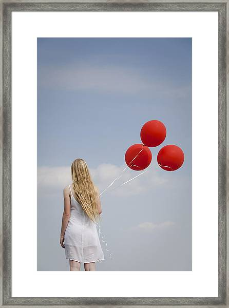 Girl With Red Balloons Framed Print