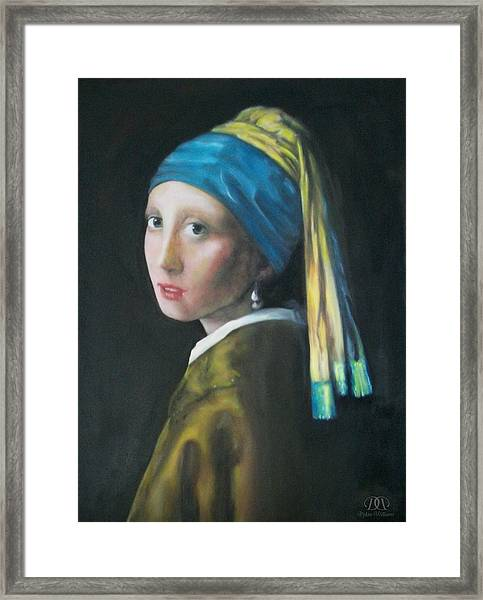 Girl With The Pearl Earring Reproduction Framed Print