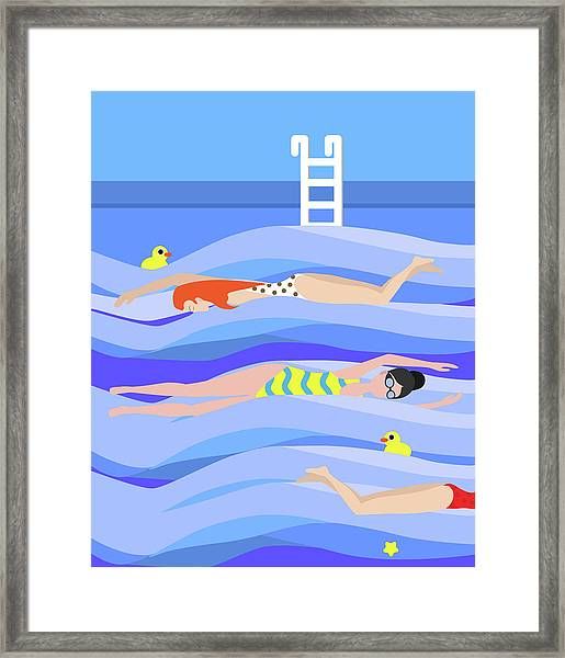 Girls Swimming In The Swimming Pool Framed Print