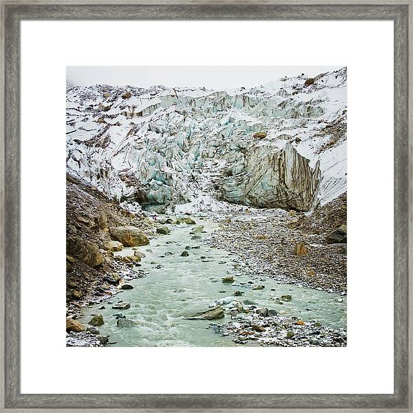 Glacier And River In Mountain Framed Print