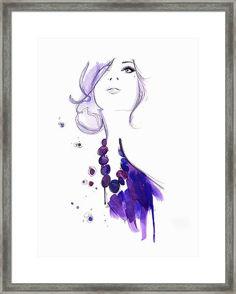 Glamorous Woman Wearing Purple Necklace Framed Print by Jessica Durrant