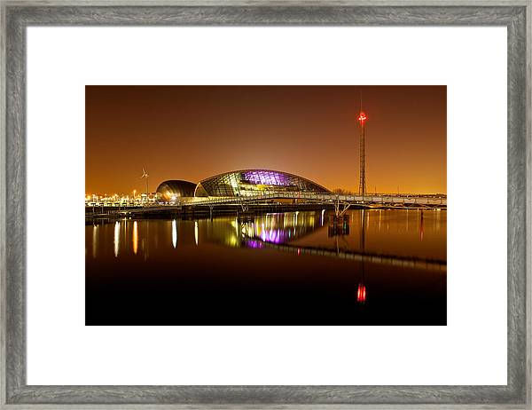 Glasgow Science Centre On A Tofee Coloured Sky Framed Print