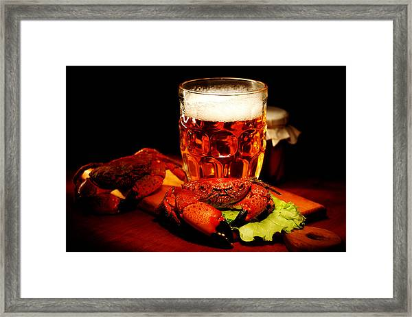 Glass Of Beer With Snack  Framed Print