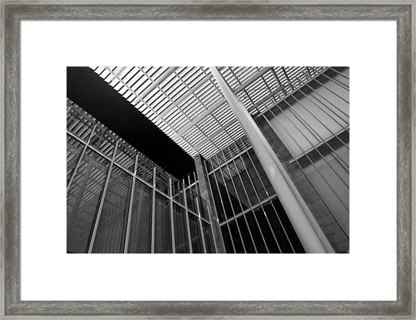 Glass Steel Architecture Lines Black White Framed Print
