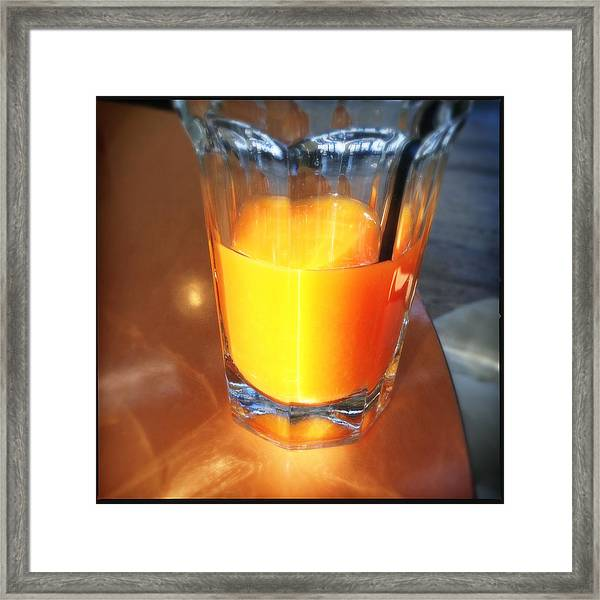 Glass With Orange Fruit Juice Framed Print