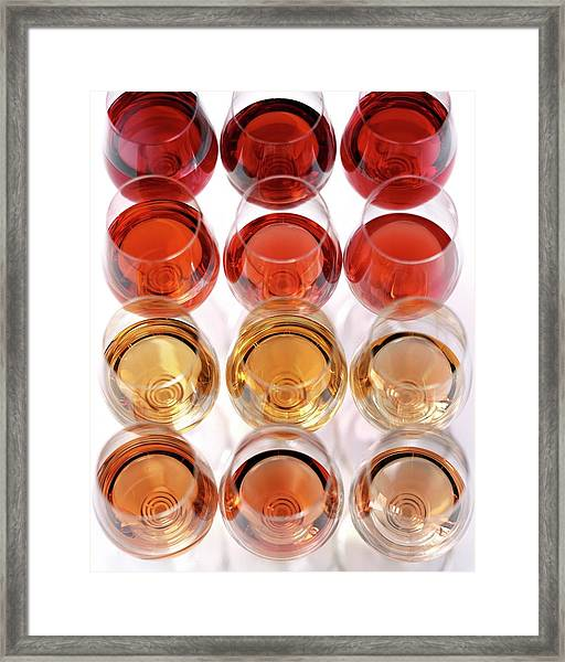 Glasses Of Rose Wine Framed Print