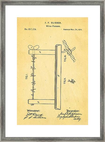 Glidden Barbed Wire Patent Art 1874 Framed Print