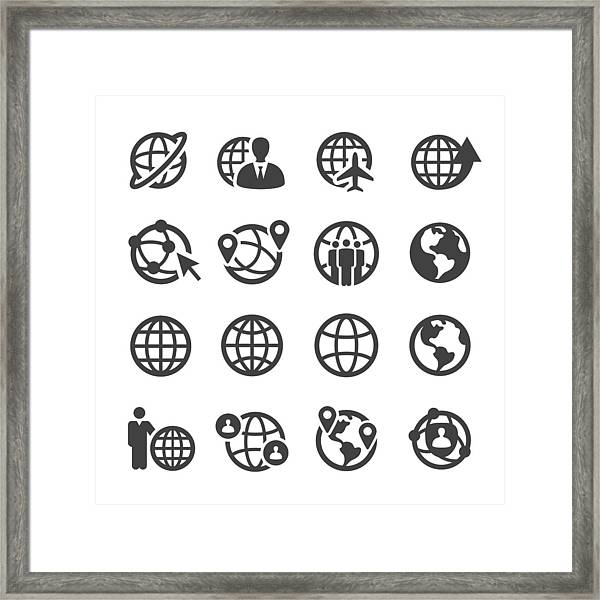 Globe And Communication Icons Set - Acme Series Framed Print by -victor-
