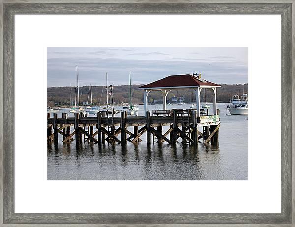 Gloomy Day Northport Dock Long Island New York Framed Print