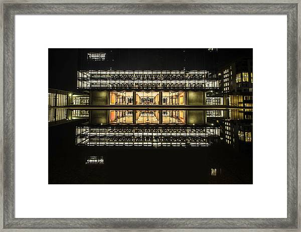 Glorious Modern Architecture At Night Framed Print