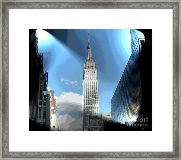 Glowing Empire State Building Framed Print