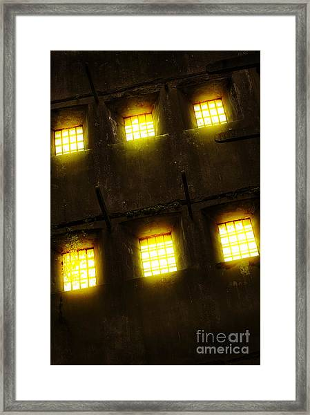 Glowing Windows Framed Print