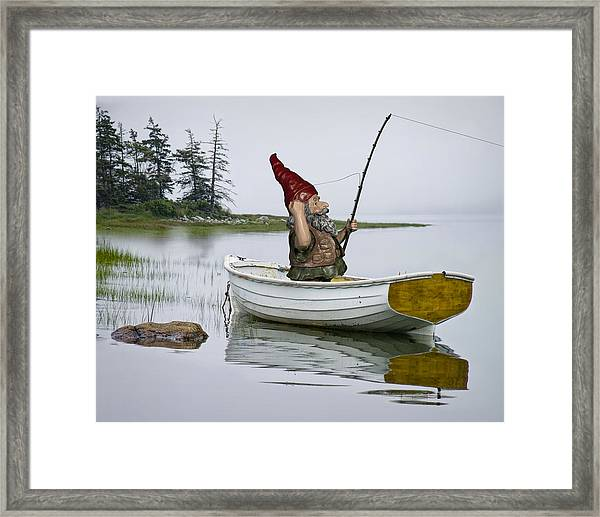 Gnome Fisherman In A White Maine Boat On A Foggy Morning Framed Print