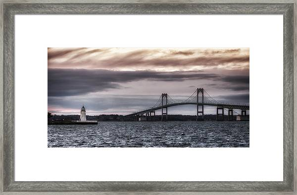 Goat Island Lighthouse And Newport Bridge Framed Print