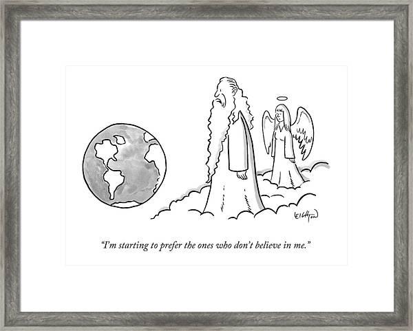 God Looks At Earth Framed Print
