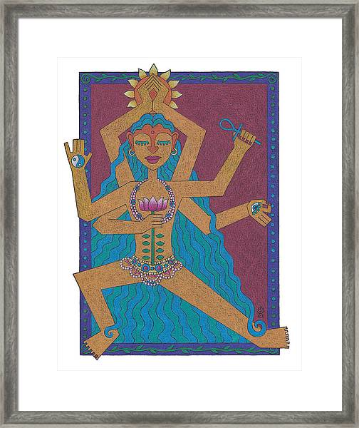 Goddess Of Well-being Framed Print by Sharon Woodward