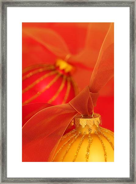 Gold And Red Ornaments With Ribbons Framed Print