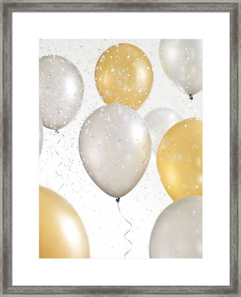 Gold And Silver Balloons With Confetti Framed Print by Lauren Nicole
